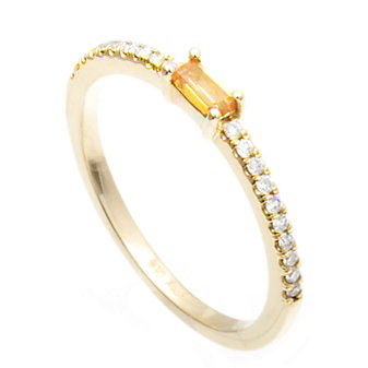 14K Yellow Gold Baguette Citrine and Round Diamond Ring