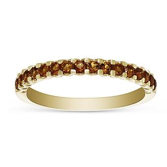 14K Yellow Gold Round Citrine Band