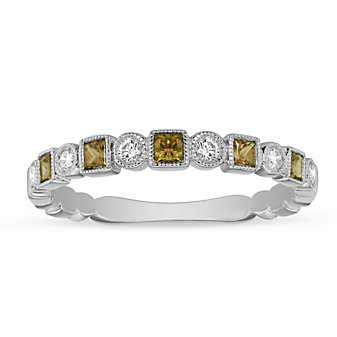 14K White Gold Citrine & Diamond Geometric Ring