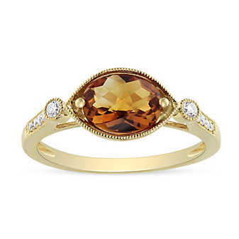 14K Yellow Gold Oval Citrine and Round Diamond Milgrain East-West Ring