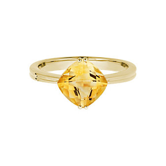 14K Yellow Gold Checkerboard Cushion Citrine Ring
