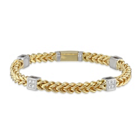 """14K_Yellow_and_White_Gold_Bracelet_with_Diamond_Station_Accents,_7.5"""""""