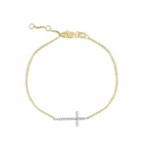 14K_Two_Tone_Diamond_Sideways_Cross_Bracelet,_7""