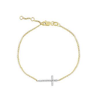 "14K Two Tone Diamond Sideways Cross Bracelet, 7"""