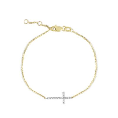 14K Two Tone Diamond Sideways Cross Bracelet, 7""