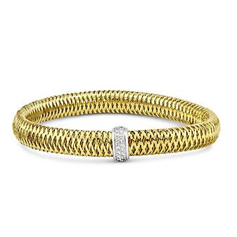 Roberto Coin 18K Yellow and White Gold Primavera Diamond Bangle Bracelet