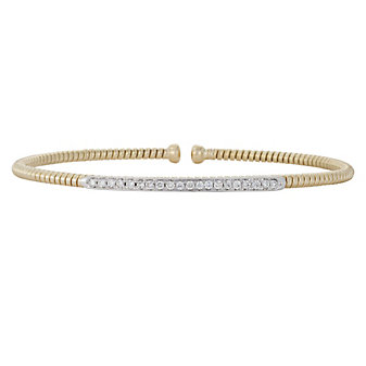 18K Yellow and White Gold Diamond Cuff Bracelet
