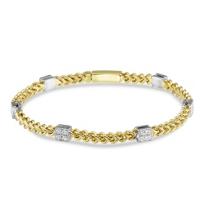 "14K_Yellow_&_White_Gold_Six_Station_Diamond_Bracelet,_7.5"""