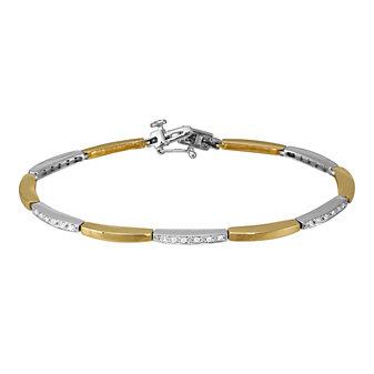 "14K Yellow & White Gold Diamond Bracelet, 7"""