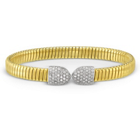 18K_Yellow_&_White_Gold_Diamond_Tipped_Cuff_Bracelet