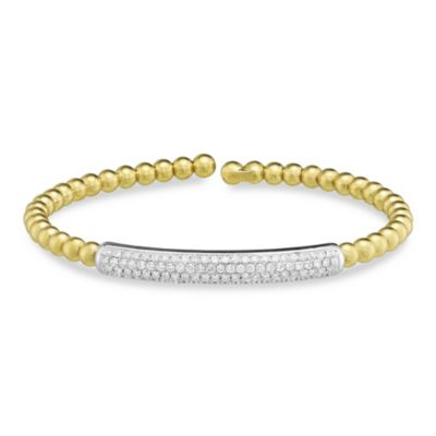 18K Yellow Gold Beaded Cuff Bracelet With Diamond Bar