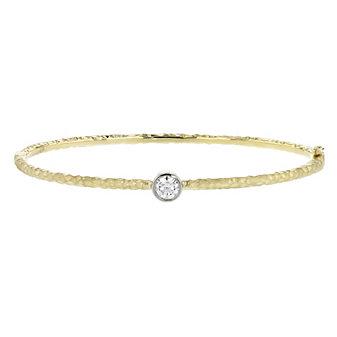 14k yellow & white gold diamond bezel set hammered bangle bracelet