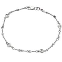 "Roberto_Coin_18K_White_Gold_Diamond_Station_Bracelet,_7"""
