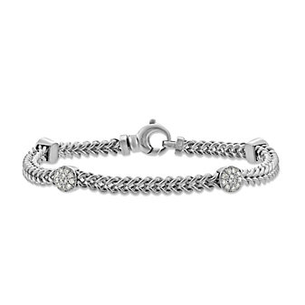 14K White Gold Diamond Round Station Bracelet, 7""