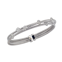 18K_White_Gold_Three_Row_Flexible_Diamond_Station_Bangle_Bracelet
