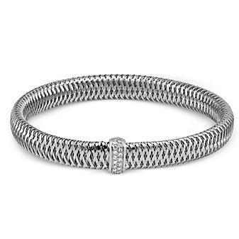 Roberto Coin 18K White Gold Diamond Primavera Bangle Bracelet
