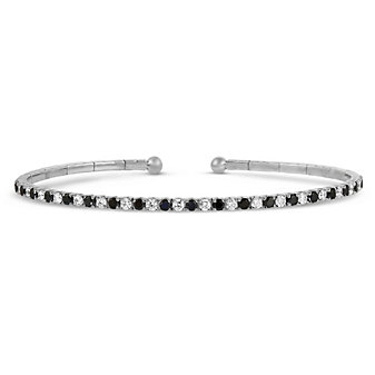 18K White Gold Black and White Diamond Cuff Bracelet