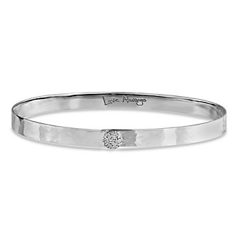 Phillips House 14K White Gold Round Diamond Infinity Love Always Hammered Bracelet