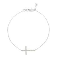 14K_White_Gold_Diamond_Sideways_Cross_Bracelet_