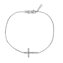 14K_White_Gold/Black_Rhodium_Diamond_Cross_Bracelet_