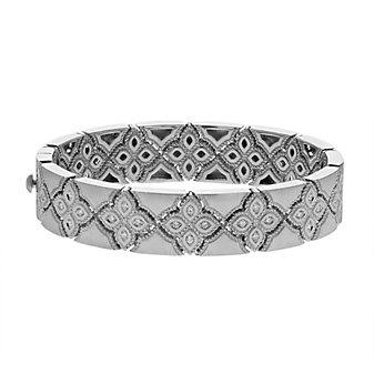 roberto coin 18k white gold and diamond venetian princess bangle bracelet