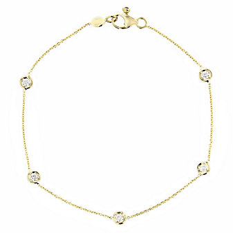 roberto coin 18k yellow gold 5 diamond station bracelet, 7""