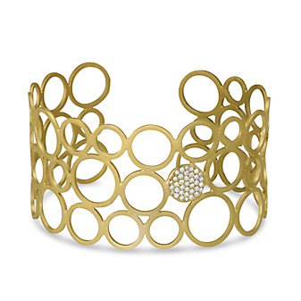 14K Yellow Gold Open Circle Diamond Cuff Bracelet