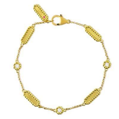 "Roberto Coin 18K Yellow Gold Barocco Diamond Station Bracelet, 7.5"""