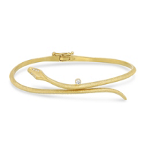 14K_Yellow_Gold_Round_Diamond_Carved_Snake_Bangle_Bracelet