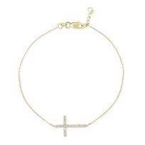 14K_Yellow_Gold_Diamond_Sideways_Cross_Bracelet