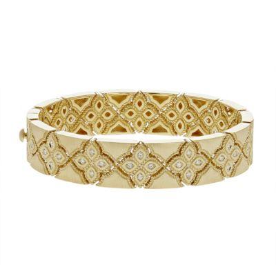 roberto coin 18k yellow gold diamond venetian princess bangle bracelet
