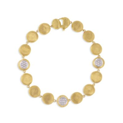 marco bicego 18k yellow gold jaipur diamond station bracelet, 7""