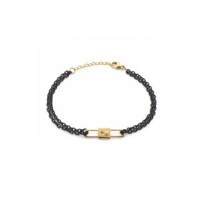 "monica rich kosann 18k yellow gold lacquered steel diamond lock charm bracelet, 7"""