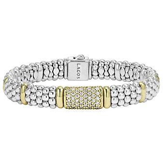 Lagos Sterling Silver & 18K Yellow Gold Round Diamond & Caviar Beaded Bracelet