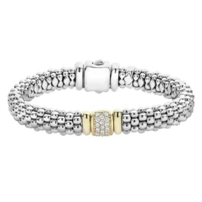 Lagos Sterling Silver & 18K Yellow Gold Diamonds & Caviar Bracelet