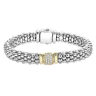 Lagos Sterling Silver & 18K Yellow Gold Diamonds & Caviar Bracelet