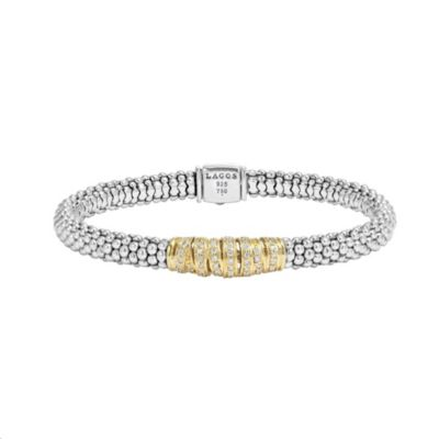 Lagos 18K Yellow Gold and Sterling Silver Caviar Diamond Embrace Bracelet