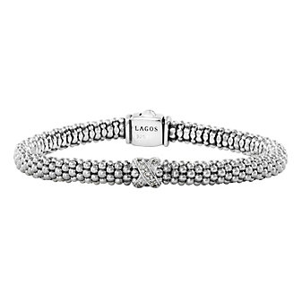 Lagos Sterling Silver Rope Single Station X Bracelet, 7.5 inch
