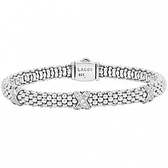 Lagos Sterling Silver Diamonds & Caviar Three Station X Bracelet