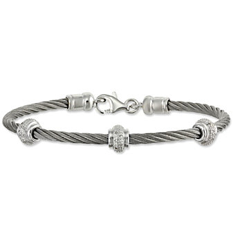 Sterling Silver & Stainless Steel Diamond Cable Bracelet
