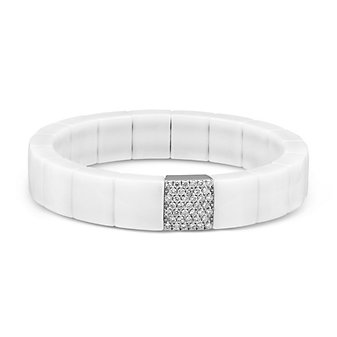 Roberto Demeglio 18K White Gold, White Ceramic and Diamond Domino Bracelet