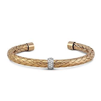 Roberto Coin 18K Rose and White Gold Primavera Diamond Cuff Bracelet