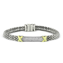Lagos_Sterling_Silver_&_18K_Yellow_Gold_Diamond_Lux_Beaded_Bracelet,_0.65cttw