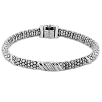 Lagos_Sterling_Silver_Diamonds_&_Caviar_Wave_Bracelet,_0.08cttw