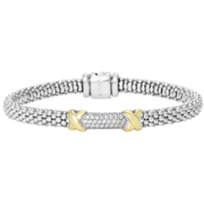 Lagos_Sterling_Silver_&_18K_Yellow_Gold_Diamond_Lux_Beaded_Bracelet,_0.37cttw