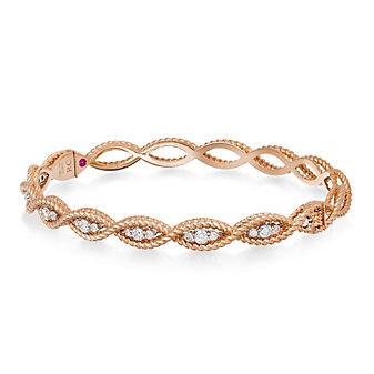 Roberto Coin 18K Rose Gold Diamond Barocco Bangle Bracelet