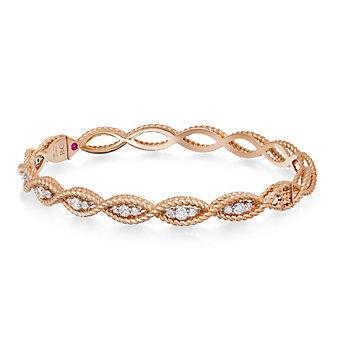 Roberto Coin 18K Rose Gold Diamond Barocco Bangle Bracelet