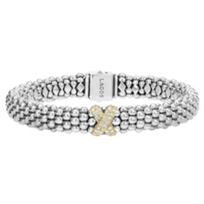 Lagos_Sterling_Silver_&_18K_Yellow_Gold_Diamonds_&_Caviar_Bracelet,_0.26cttw