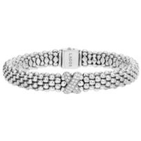Lagos_Sterling_Silver_Diamonds_&_Caviar_Bracelet,_0.26cttw
