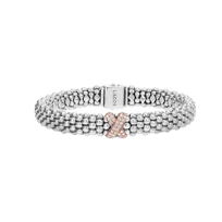 Lagos_Embrace_Sterling_Silver_&_18K_Rose_Gold_Diamond_Caviar_Bracelet,_0.26cttw